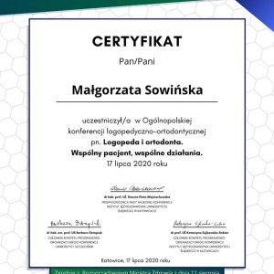 Małgorzata Sowińska - certyfikat- (1)