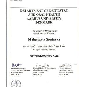 Małgorzata Sowińska - certyfikat- aahrus